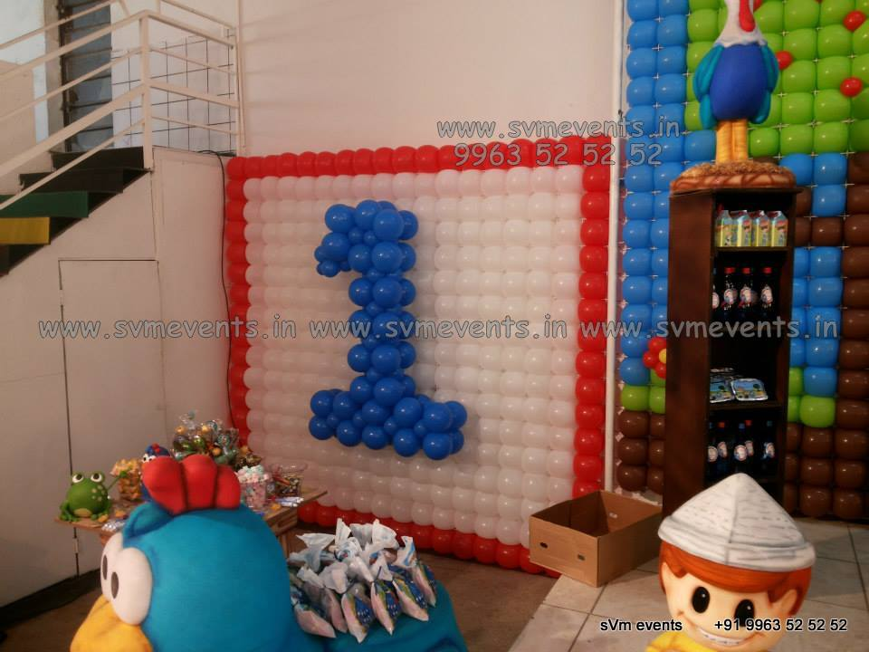 Balloon wall balloon theme balloon theme parties svm events for Balloon decoration on wall for birthday