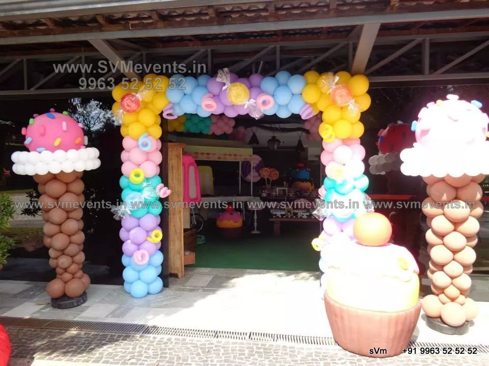 Candy Land theme for kids 1st Birthday party and Balloon decoration ...