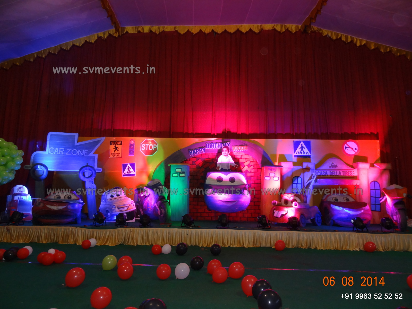 Disney cars theme 3d for birthday party in hyderabad svm for Balloon decoration cars theme